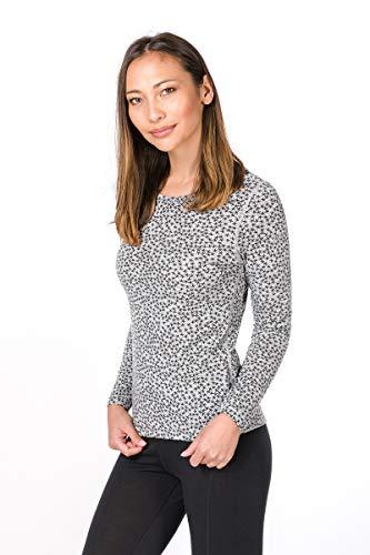 super. Natural Femme W Base 175 Printed T-Shirt à Manches Longues en Mérinos M Ash Melange/Ash Stars