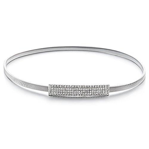 Trimming Shop Mujer Ajustable Cinturón con 5 Filas Cristal Diamante Incrustaciones de Moda Hebilla Extensible Goma Cintura Moda Accesorio, 20mm Ancho - Plateado, One size