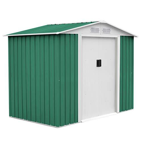 GARDIUN KIS12992 - Caseta Metálica Glasgow 6,3 m² Exterior 241x261x198 cm Acero Galvanizado Verde