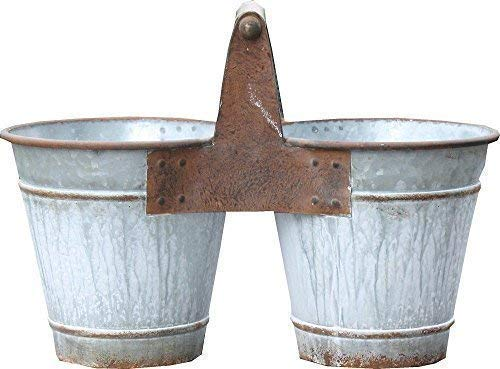 Linoows Nostalgie Bac à Plantes en Métal, Double Pot de Fleur Avec Poignée