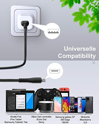Cabepow Micro-USB-Kabel, 3 Stück, Android-Ladekabel, strapazierfähiges Premium-Nylon, geflochten, schnelles Handy-Ladekabel für Samsung Galaxy S7, S6, S7, S5, Note 5 (schwarz)