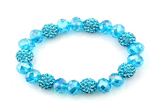 XL Crystal Shamballa Beads Aurora Faceted Glass Bracelet Stretch Cord- (Turquoise)