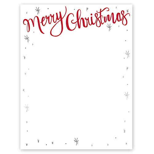 Merry Christmas Holiday Premium Letterhead - Pack of 25 Sheets. 8 1/2'' x 11''. Laser and Inkjet Compatible. Made in the USA