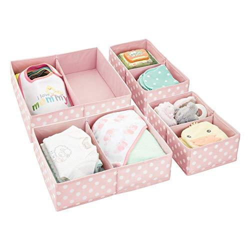 mDesign Juego de 4 cajas para guardar ropa – Práctico organizador de armario en 2 tamaños para todos los cajones – Bonita caja de tela con 2 compartimentos y diseño de puntos – rosa/blanco