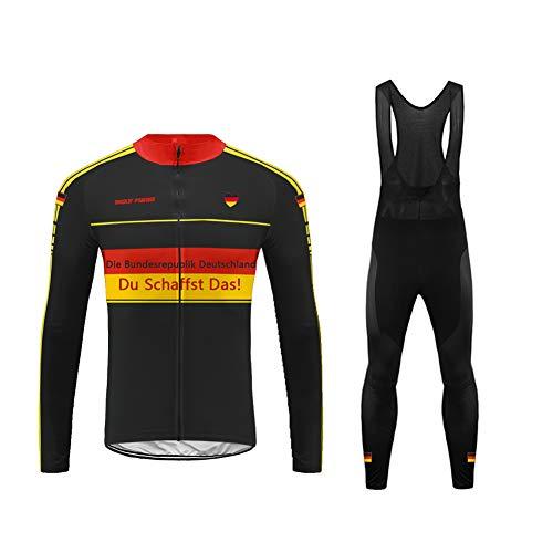 Uglyfrog Radsport Anzüge für Herren Radtrikot Set Langarm Fahrradjacke und Lange Radhose Winter Fahrradbekleidung Outdoor