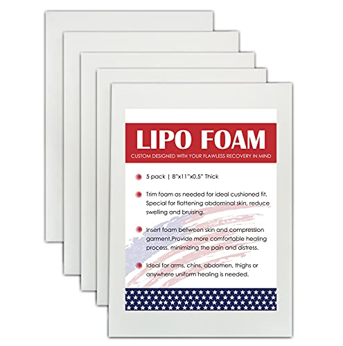 "5 Pack Lipo Foam Pads for Post Surgery Ab Board Liposuction Surgery Flattening Abdominal Compression Garments Lipo Foam Sheets 8"" x 11"""