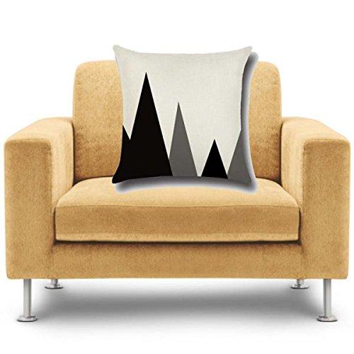Housse de Coussin Taie d'oreiller en Coton Lin Motif Géométrique Art Décor Noir et Blanc - 43 x43cm - # 20