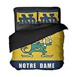 Ebedr 3PCS Notre Dame College Football Bed Twin Sets Sports Team Color Bedding University Quilt Cover Teens Boys Bed Duvet Covers