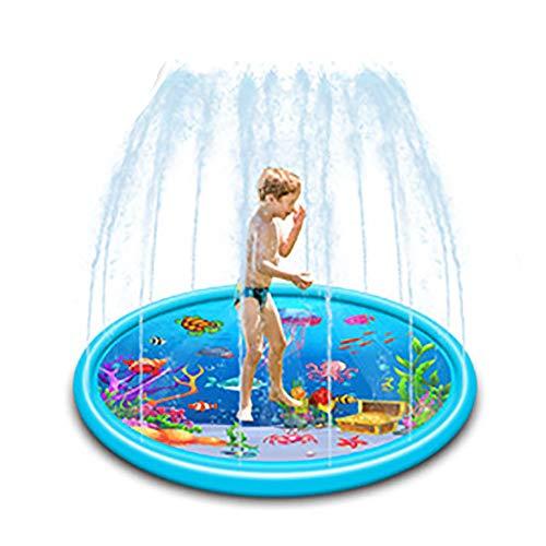 TOMYEER Almohadilla de rociador inflable para niños pequeños, piscina de bebé, juegos al aire libre, alfombrilla de agua, juguetes para bebés y bebés, 170 cm, color azul