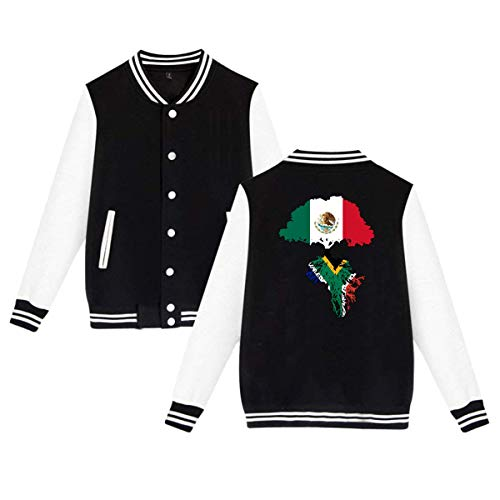 SHIEZZ Mexico Flag Roots South African Flag Men's Women's Baseball Uniform Jacket Sports Hoodie