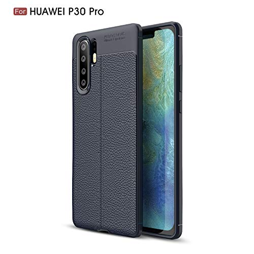 Beovtk Funda Protectora de Huawei P30 Pro Case, [Delgada Delgada] TPU Silicona Carcasa Fundas Protectora con Shock Absorción y Diseño de Fibra de Carbon para Huawei P30 Pro Case (Armada)