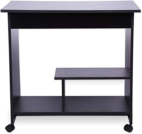 Computertisch aus Holz, Arbeitsstation, Laptop-Schreibtisch, mit Tastaturständer, 80 * 49,5 * 76 cm,Black