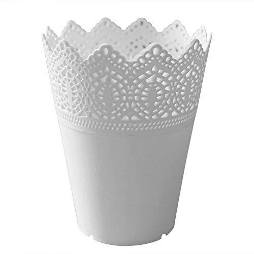 WeiMay - Bote hueco con diseño de encaje para organizar escritorios, bolígrafos y brochas de maquillaje, Blanco, 14*10*7CM