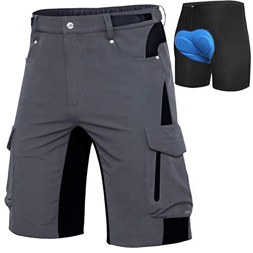 Cycorld MTB Hose Herren Fahrradhose, Schnelltrocknende MTB Shorts Herren Mountainbike Hose Baggy Bike Shorts, Atmungsaktiv Radhose mit Verstellbaren Klettverschlüssen (Grau+Pad, XL)