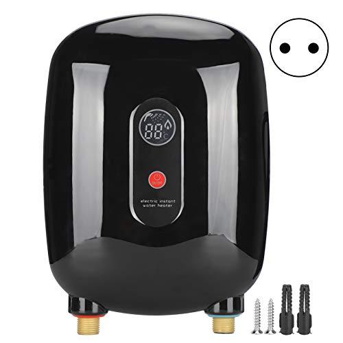 Durchlauferhitzer Mini Warmwasserbereiter LED Tankless Sofortiger Durchlauferhitzer für Badezimmer Küche(black)