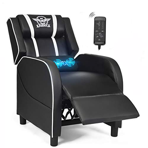 POWERSTONE Gaming Chair Recliner- Massage Gaming Chair with Footrest Lumbar Support Headrest and Side Pouch Ergonomic PU Leather Racing Sofa for Living Room Home Theater, White