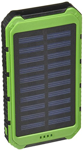 Creative Edge Solar Charger (TM) Solar-5 Solar Panel 5000mAh Water/Shock/Dust Resistant Portable Backup Power Bank Dual USB Output, Fits Most USB-Charged Devices (Apple Lightning Adapter Included)