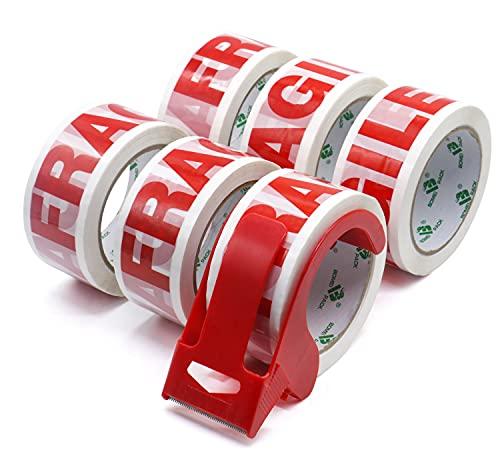 Nastro da Imballaggio Fragile, Nastro da Imballaggio per Pacchi, 6 Rotoli da 48 mm x 66 m, (Dispenser da 1 Pezzo) Bomei Pack