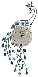 Blue Peacock Silent Wall Clock