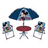 ARDITEX WD13011 Set de Mesa (50x50x48cm), 2 Sillas (38x32x53cm) y Sombrilla (diámetro 110cm) de Disney-Mickey