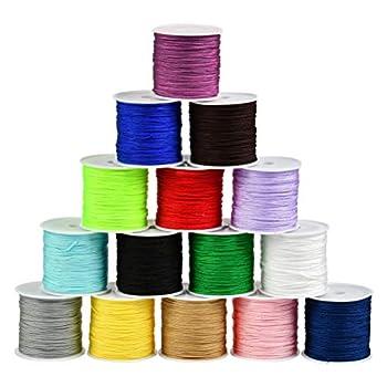 BUYGOO 735 Yards 0.8mm Nylon Beading String Chinese Knotting Cord Nylon Shamballa Cord Beading String for Necklace Bracelet Beading Kumihimo Chinese Knot - 15 Colors