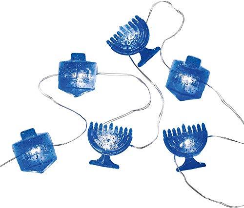 Rite Lite Chanukah Battery Operated Mini String Lights Electric Decoration, 3.5 x 2 x 6 in, Blue Hanukkah Lighting