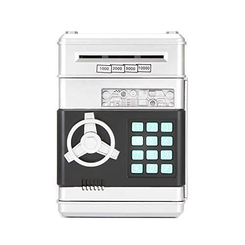 A0ZBZ Hucha electrónica Banco de Dinero con contraseña para Efectivo Monedas cajeros automáticos Mini Bancos de Monedas Hucha para niños (Plata)