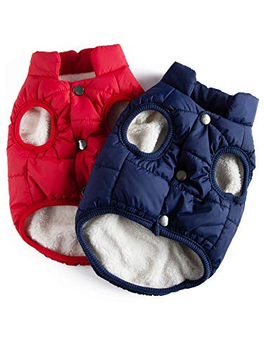 2 Pieces Pet Dog Jacket 2 Layers Fleece Lined Warm Dog Jacket Soft Windproof Small Dog Coat for Winter Cold Weather (M)