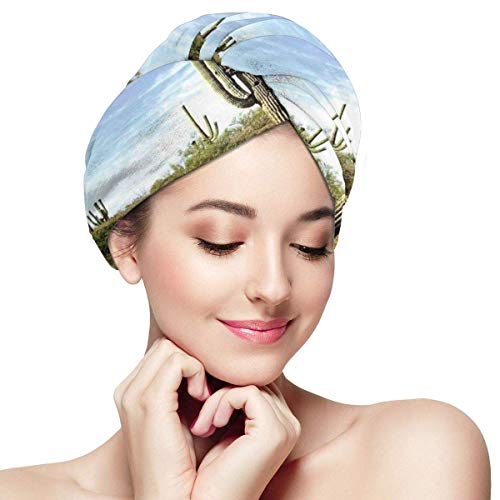 HomeLEE Snel Droog Haar Wrap Handdoeken Turban, Tall Saguaro Cactus Met Gespineerde Bladeren Woestijn Planten In Zonnige Dag Foto Print,Absorberende Douche Cap