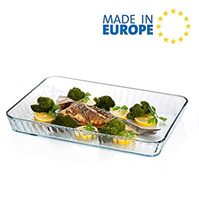 Glass Baking Dish for Oven, Casserole Dish, 16 in x 11 in Rectangular Baking Tray, Heat Resistant Borosilicate Glass Ovenware, 2 inches Height and 4-Quart Capacity Glass Cookware