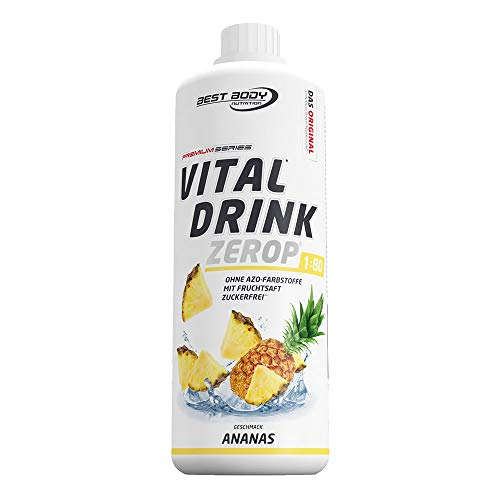 Best Body Nutrition Vital Drink ZEROP® - Ananas, zuckerfreies Getränkekonzentrat, 1:80 ergibt 80 Liter Fertiggetränk, 1000 ml