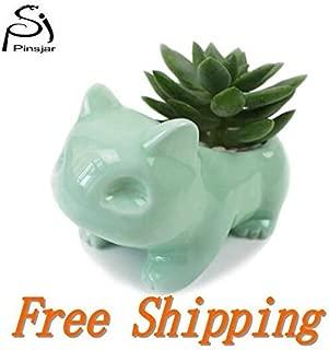 Kawaii Ceramic Flowerpot Bulbasaur Succulent Planter Cute Green Plants Flower Pot with Hole Cute Dropshipping