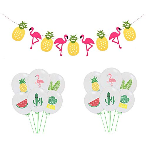 Hawaiian Tropical Garland Pineapple Flamingo Banner with12 Pcs Hawaiian Latex Balloons ,Hawaiian Party Decoration Set Summer Birthday Baby Shower Party Supplies