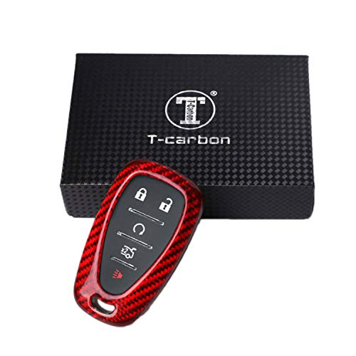 Kwak\'s Autoschlüssel Abdeckung Glasfaser Schlüsselhalter Kompatibel für Chevrolet 16 Camaro Malib Key Fob Autoschlüssel Fall(rot)