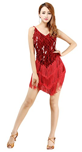BellyQueen Robe Danse Latine Salsa Femme Robe à Frange Déguisement Charleston Robe Gatsby sans Manche pour Fête Bal Soirée Spectacle Rouge
