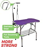 """Polar Aurora Pingkay Heavy Duty Stainless Steel Pet Professional Dog Bone Pattern Foldable Grooming Table w/Adjustable Arm & Noose & Mesh Tray (46"""")"""