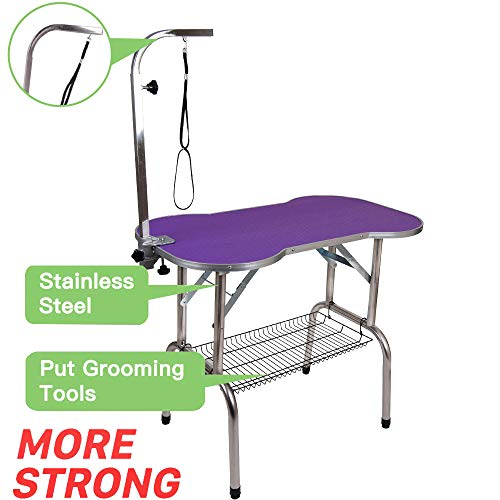 """Polar Aurora Pingkay Heavy Duty Stainless Steel Pet Professional Dog Bone Pattern Foldable Grooming Table w/Adjustable Arm & Noose & Mesh Tray (32"""")"""