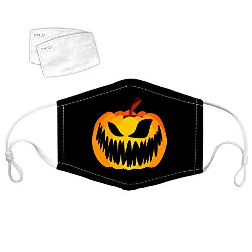 Bumplebee Halloween Maske Kinder Mundschutz Waschbar Baumwolle Staubdichte Multifunktionstuch mit Kürbis Motiv Atmungsaktiv Lustige Motorrad Halstuch