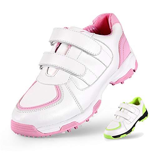 GRASSAIR Golfschuhe für Kinder wasserdichte atmungsaktive Sportschuhe Bedruckte verschleißfeste rutschfeste Turnschuhe für Jungen und Mädchen,Rosa,31