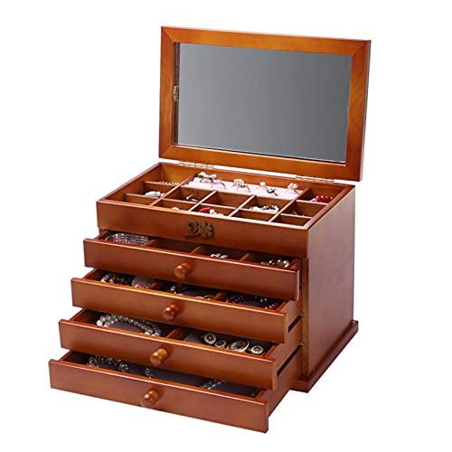 HFQJTU Caja de joyería de Madera Maquillaje y Organizador con 4 cajones, Caja de Almacenamiento de joyería Superior de la cómoda para Collares, Pulseras, Anillos (Color : Natural)