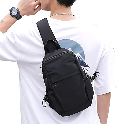 Small Black Sling Crossbody Backpack Shoulder Bag for Men Women, Lightweight One Strap Backpack...