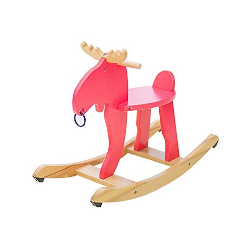 NXYJD Children's Solid Wood Trojan Kids Rocking Horse Baby Rocking Chair Ride on Toys for Boys and Girls