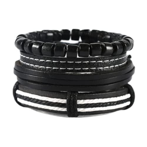 Pulseras, pulsera multicapa, pulsera de aleación, unisex, cuero negro, imprescindible para fashionistas, conjunto de pulseras