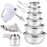 Electric Hand Mixer Mixing Bowls Set, Upgrade 5-Speeds Mixers with 6...