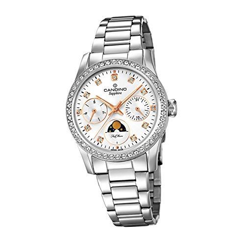 Candino Reloj de pulsera para mujer C4686/1, moderno, analógico, de acero inoxidable, plateado, D2UC4686/1, un regalo para Navidad, cumpleaños, día de San Valentín para la mujer