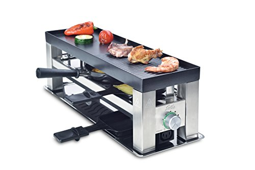 Solis Grill 4 in 1, raclette/tafelgrill/wok/crêpes, 3 personen, roestvrij staal, tafel grill 4-in-1 (type 790)