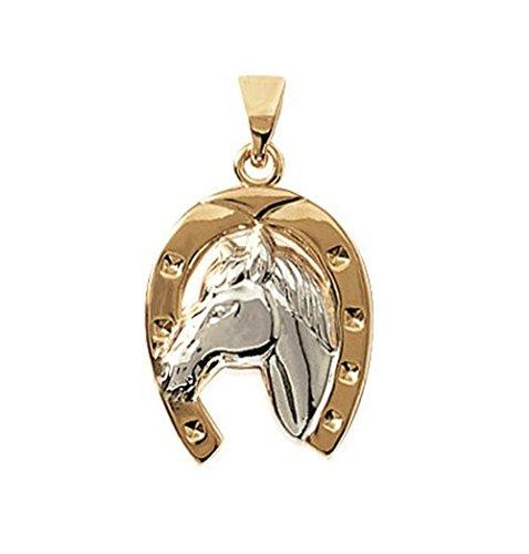 So Chic Gioielli - Ciondolo Cavallo Fer Equitazione Bicolore Placcato Oro 750