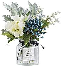 Ins Style Vase with Artificial Flower Set 1 Piece Fake Rose Berry Leaf Floral Flower Arrangement Glass Rose (Blue S)