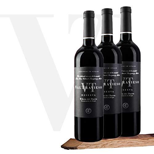 Valtravieso Reserva Vino Tinto DO Ribera del Duero Tinto Fino (80%), Cabernet Sauvignon (10%) y Merlot (10%) - Lote de 3 Botellas 750 ml, Total: 2250 ml