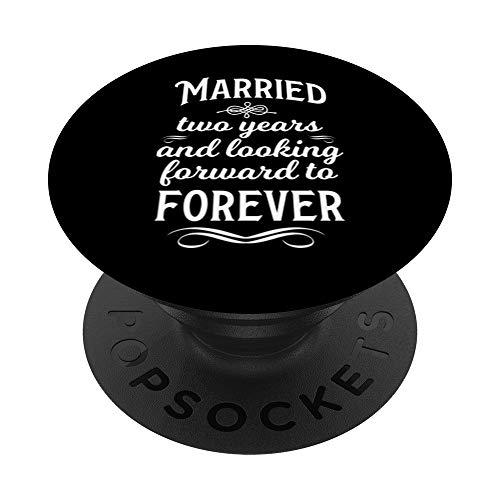 Casados 2 Años Celebrar Aniversario De Boda Amor Matrimonio PopSockets PopGrip: Agarre intercambiable para Teléfonos y Tabletas